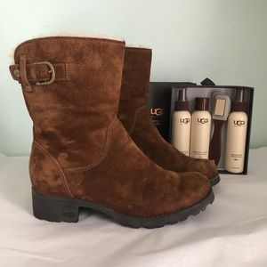 UGG Shearling Suede Moto Boots & UGG Care Kit